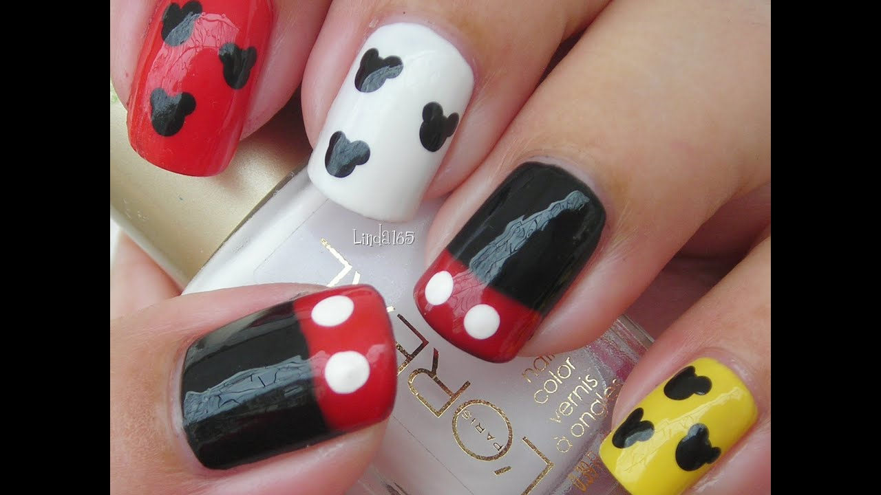 Nail Art - Mickey Mouse Nails - Decoracion de Uñas - YouTube