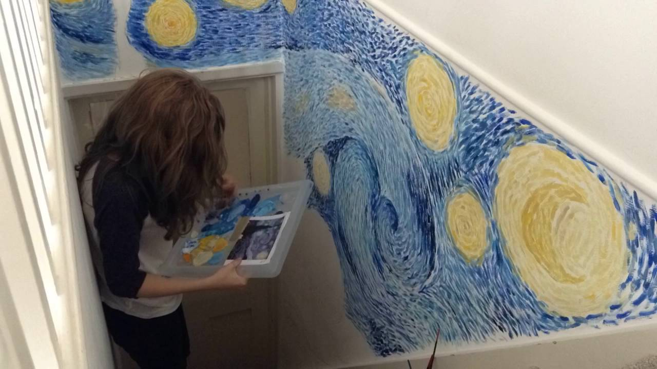 Attractive Painting Starry Night By Van Gogh On My Wall  Part 2 Part 28