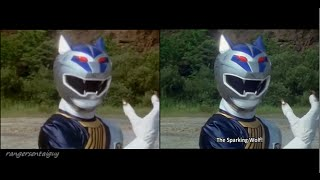 Power Rangers Wild Force Silver Wolf Ranger First Appearance Split Screen (PR and Sentai version)