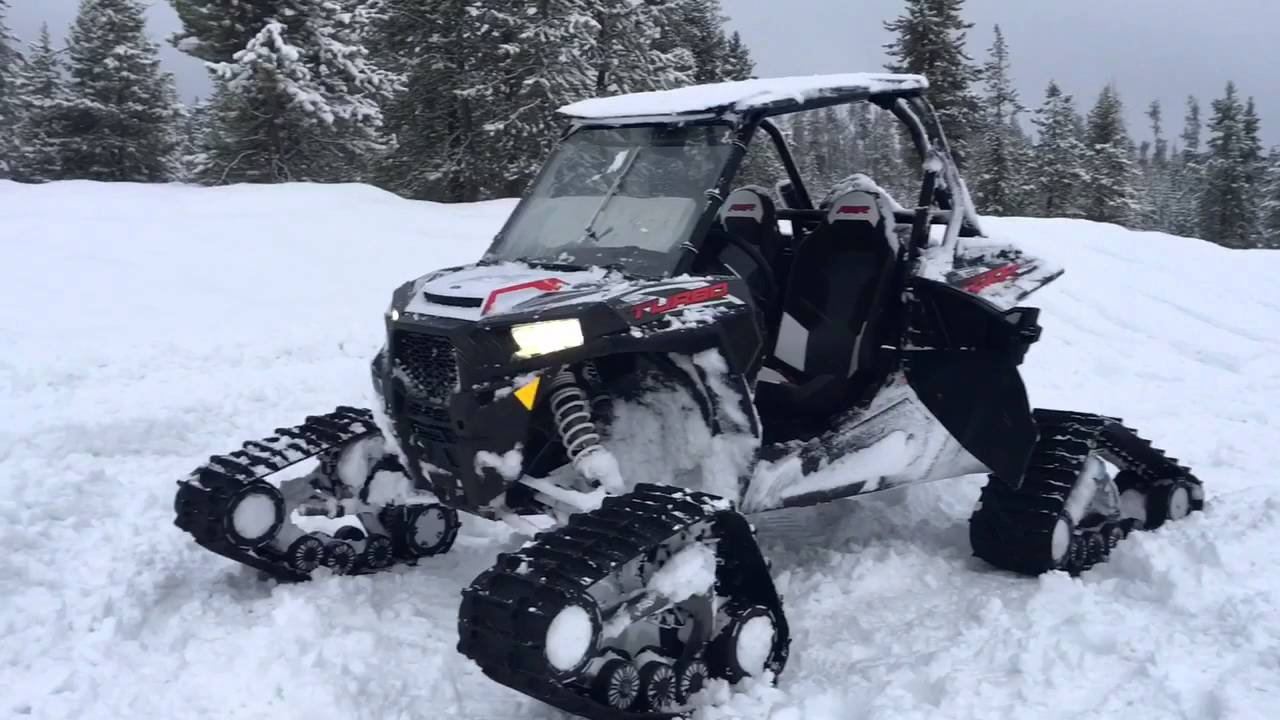 Polaris Rzr Turbo With Tracks Deep Snow Powder Youtube