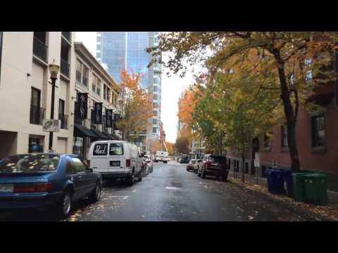 Driving Downtown Portland Oregon USA