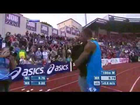 Blonde gets in the way of Usain Bolt Video