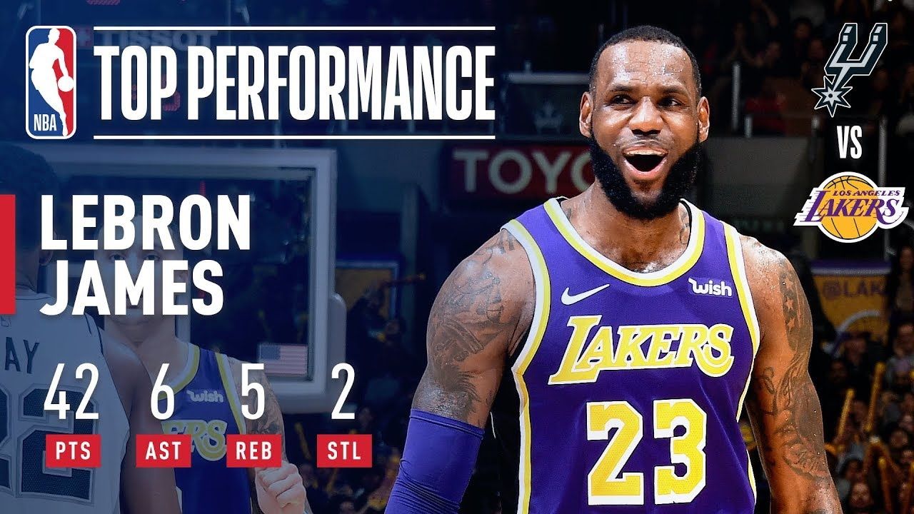 07770aba3b2 LeBron s 42 Points Leads Lakers to 4th Consecutive Win