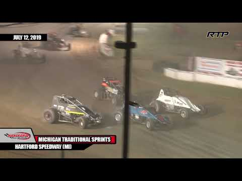 "Michigan Traditional Sprint Series ""Battle of Michigan"" Feature Event - Highlights Hartford Speedway Hartford, Michigan July 12, 2019. - dirt track racing video image"