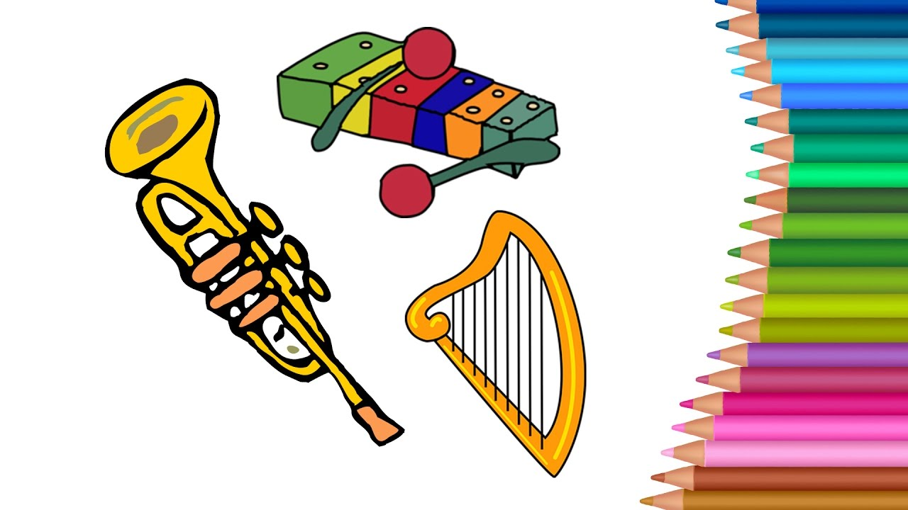 learn painting and coloring music instrument for kids and learning