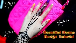 How to apply easy simple henna mehndi designs for hands Tutorial for eid,diwali 2017