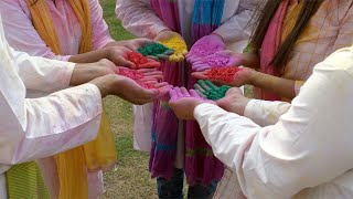 Palms of young cheerful friends covered in different powder colors at a Holi party