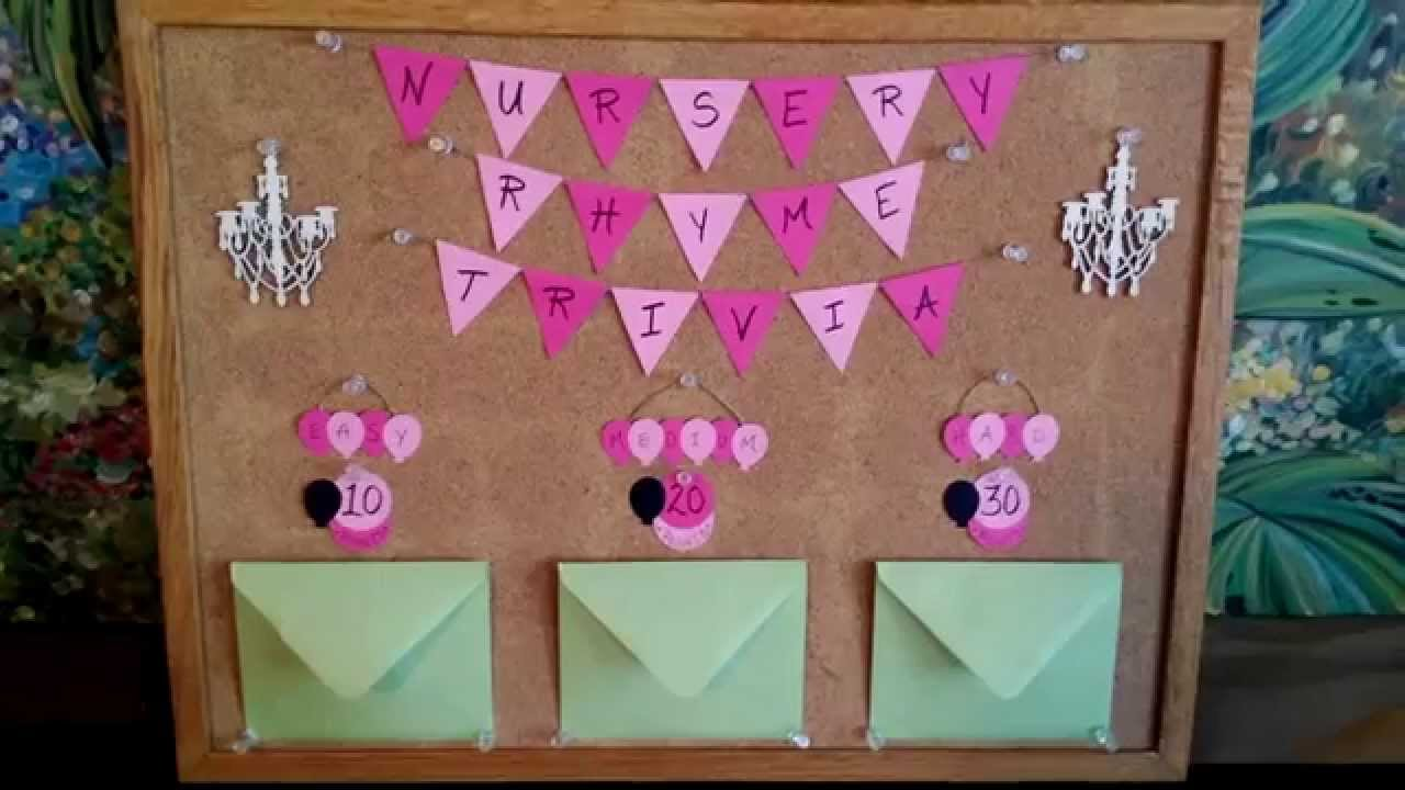 diy baby shower games nursery rhyme trivia youtube
