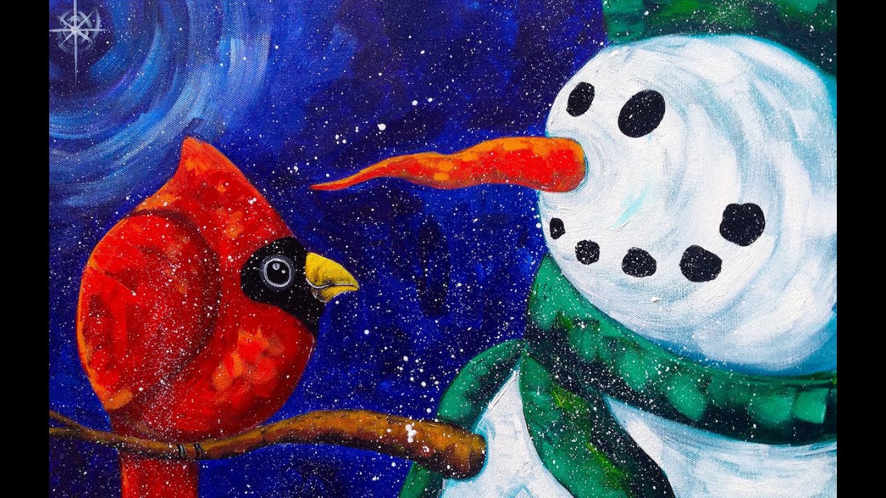 beginners acrylic painting snowman with cardinal the art