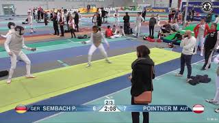 2018 1234 T128 M F Individual Halle GER European Cadet Circuit YELLOW POINTNER AUT vs SEMBACH GER