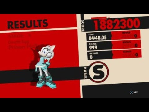 Sonic Forces - Stage 4 Prison Hall RA - 999 Rings w/Wolf Avatar + Cube