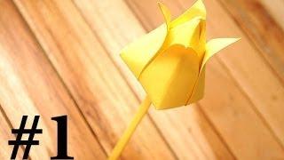 Уроки оригами от ромашки - Тюльпан - урок 1-ый(Решил проводить видео уроки по складыванию бумаги тоесть оригами буду делать разное оригами цветы, мебель,..., 2014-03-18T17:16:25.000Z)
