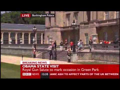 President Barack Obama & Queen Elizabeth accept 42 gun Salute Buckingham Palace