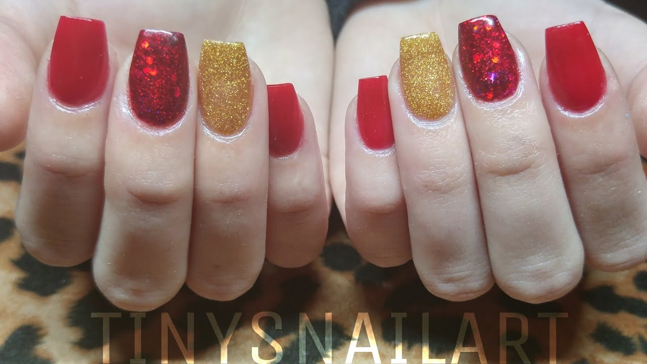 Red And Glitter Acrylic Nails