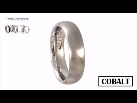 Men's 6mm Brushed Court Cobalt Wedding Ring