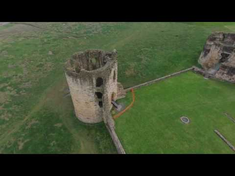 Flying around Ewloe Castle and Flint Castle