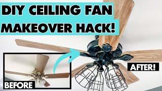 DIY Modern Farmhouse Ceiling Fan Makeover || Ceiling Fan Hack under $30!