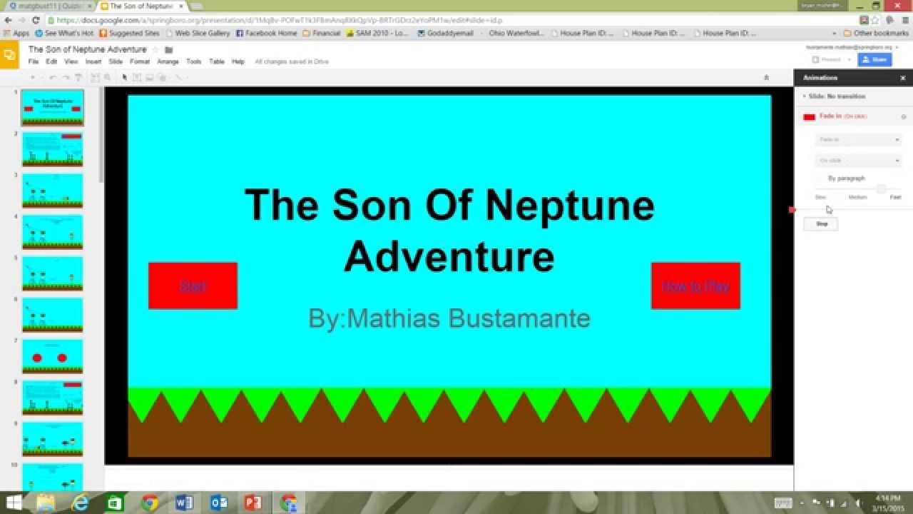 How To Make A Video Game On Google Slides Part 1