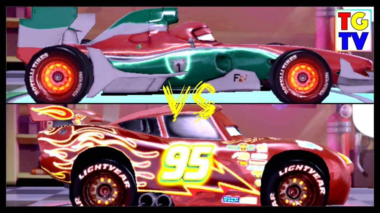 Disney Pixar Cars 2 Screen Race Neon Mcqueen Vs Francesco