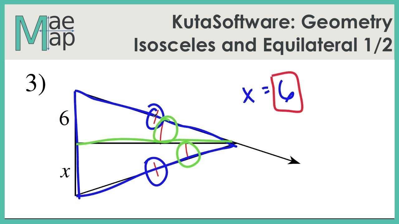 Kutasoftware Geometry Isosceles And Equilateral Triangles Part 1 Youtube