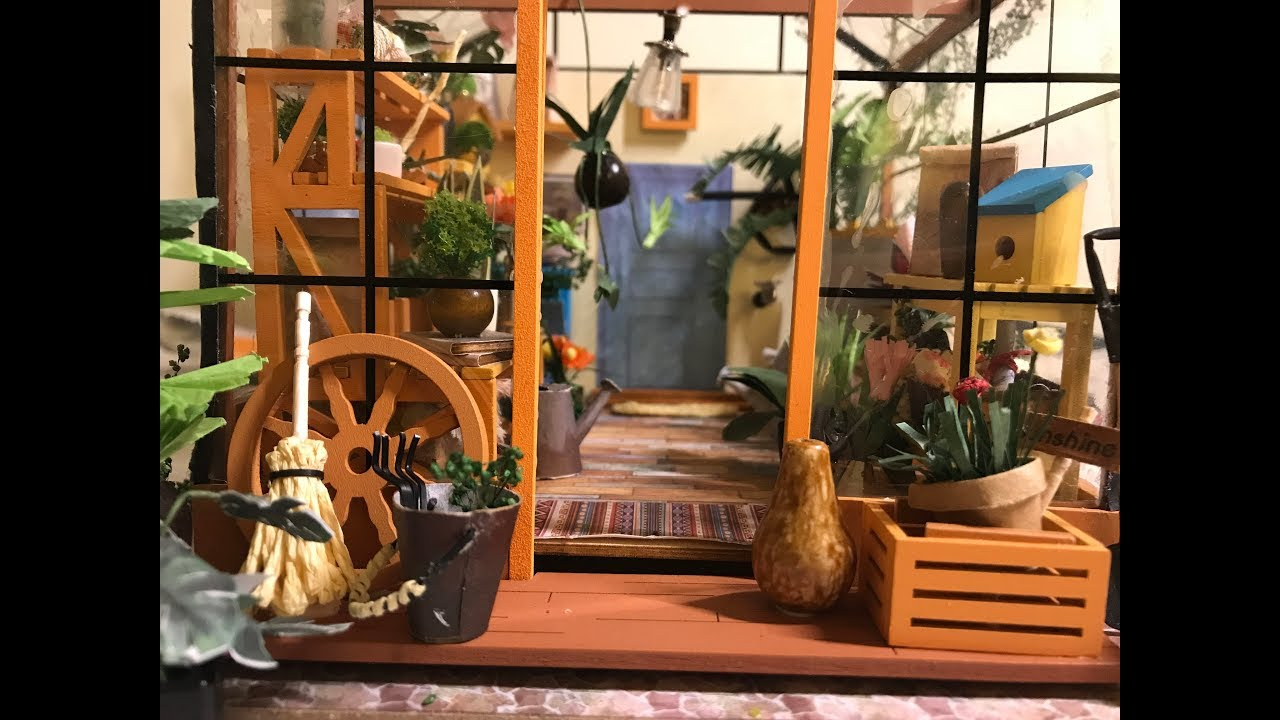 Diy Greenhouse Kit Robotime Watch Me Assemble Miniature Dollhouse Room No Music