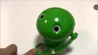 Funny frog piggy bank! Japanese coins.