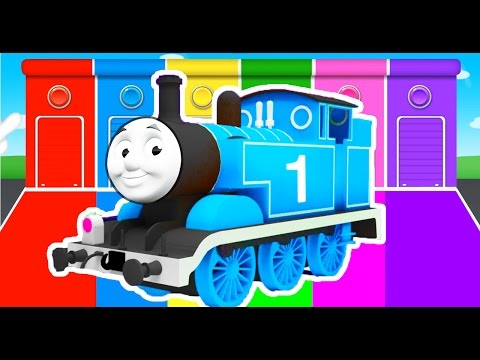 Thumbnail: THOMAS TRAIN COLORS for Kids - Cars Learning Educational Video - Bus Superheroes for babies