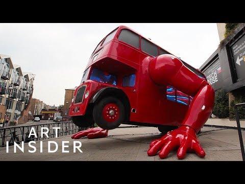 Giant London Bus Sculpture Does Pushups