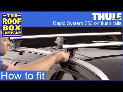 thule rapid system 753 on flush roof rails youtube. Black Bedroom Furniture Sets. Home Design Ideas