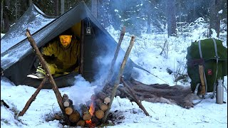 Winter Solo Overnight - Vinтage Canvas Tent - Extreme Cold - Self Feeding Long Fire - Woodsman Meal