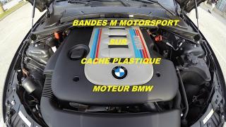 Bandes M Motorsport sur cache plastique moteur BMW