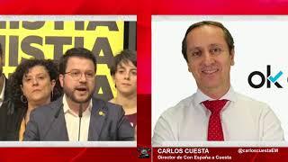 Carlos Cuesta descubre el pacto secreto de Sánchez y la ERC que daría la independencia a Cataluña