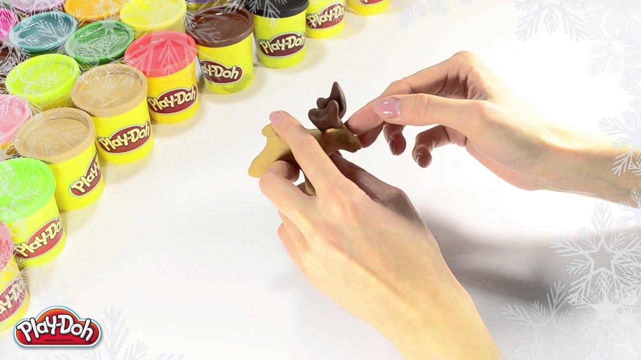 Play-Doh Russia Как слепить Новогоднюю упряжку оленей из пластилина Play-Doh