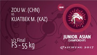 1/2 FS - 55 Kg: M. KUATBEK (KAZ) Df. W. ZOU (CHN), 6-6