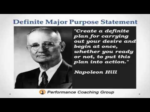 Definite Major Purpose Statement Napoleon Hill Secret in Think and Grow Rich To Achieve Any Goal