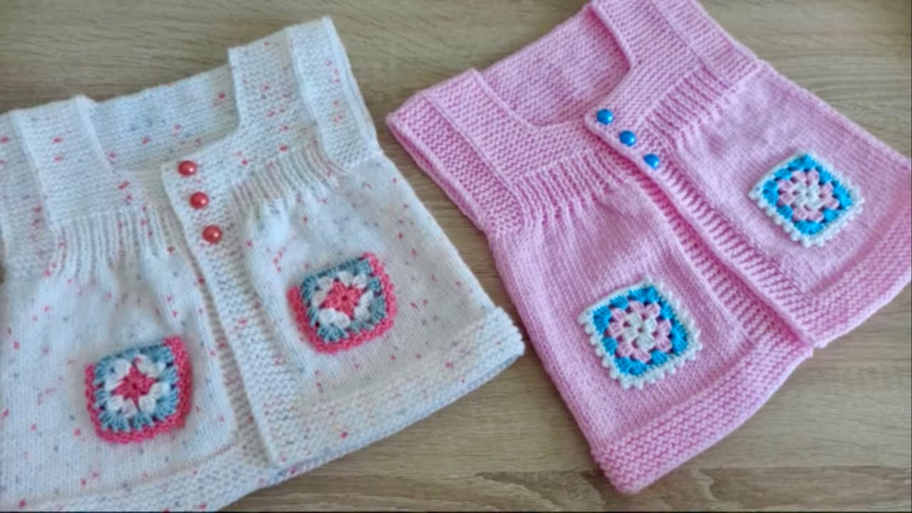 #52 Üç Boyutlu V Bebek Yeleği Modeli - Örgü Modelleri / Knit Baby Vest (subtitles available)