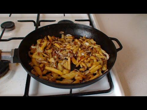 Картофель с луком жареный на сале.