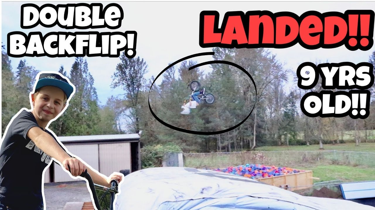 I landed My First DOUBLE BACKFLIP !!! 9 Yrs Old!