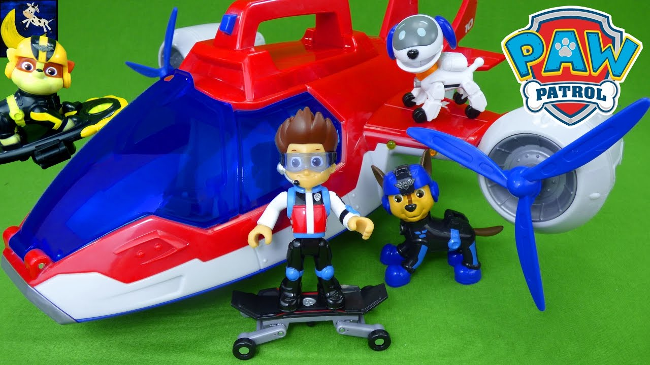 Paw Patrol Mission Paw Toys Air Rescue Pups Ryder Skateboard Air Patroller  Robo Rog Chase Toys Video