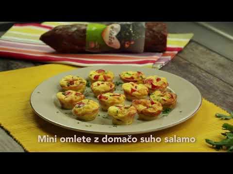 Mini omlete s suho domačo salamo z´dežele