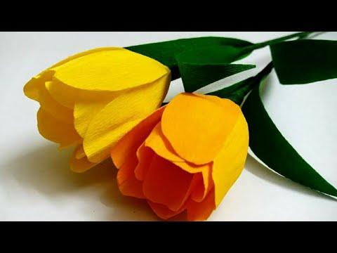 Realistic tulip flower crepe paper   tulip flower making  / tulips paper flower