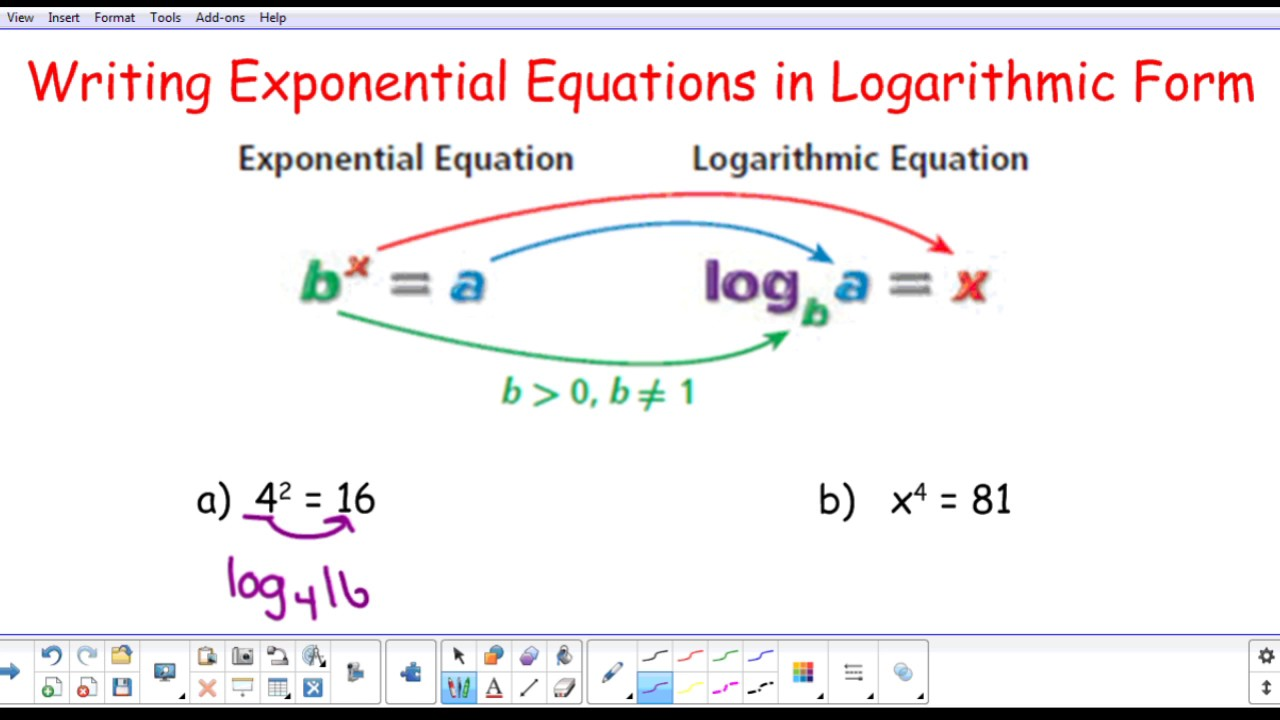 writing exponential equations Logarithm worksheets in this page cover the skills based on converting between logarithmic form and exponential form, evaluating logarithmic expressions, finding the value of the variable to make the equation correct, solving logarithmic equations, single logarithm, expanding logarithm using power rule, product rule and quotient rule.