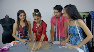 Diverse Indian students engaged in professional fashion designing course - Studio