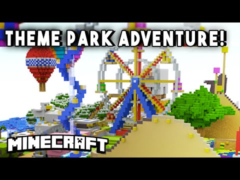 THEME PARK ADVENTURE [Ep2] (Rollercoasters, Minigames, & more!) - Minecraft Maps
