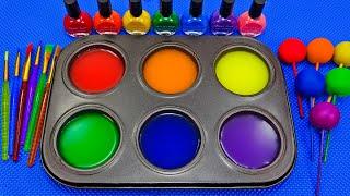 Satisfying Video l Playdoh Rainbow Lollipop Candy With Nails Polish &amp Color Tray ASMR #52 Bon Bon