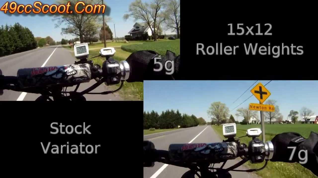 Roller Weight Comparison - 5g vs 7g - Stock 90cc Minarelli Scooter