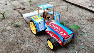 HOW TO MAKE A COLGATE TRACTOR WITH CULTIVATOR || COLGATE ELECTRIC TRACTOR TOY DIY