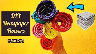DIY Newspaper Flowers | Paper Flower Making | Paper Craft Ideas | Just Craft