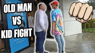 CRAZY OLD MAN TRIES TO FIGHT KID!!