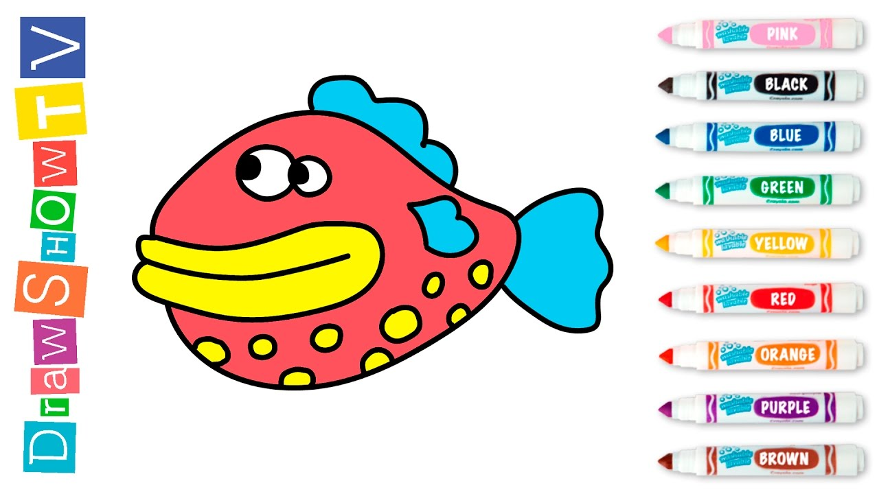 How to Draw Fish | Videos Coloring Pages for Kids - YouTube